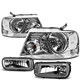 07 f150 smoked headlights - Ford F150 Pair of Chrome Housing Clear Corner Headlights + Smoked Lens Fog Lights