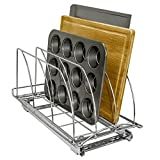 Lynk Professional® Roll Out Cutting Board, Bakeware, and Tray Organizer - Pull Out Kitchen Cabinet Rack - 10 inch wide x 21 inch deep - Chrome