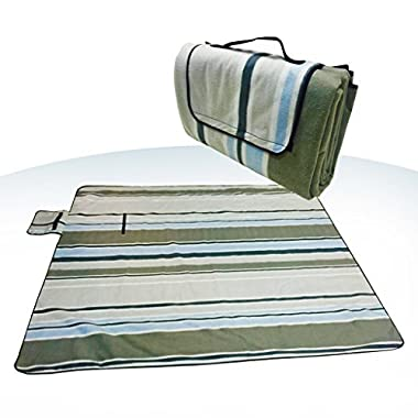 XXX-Large 70x80  Picnic Blanket Waterproof bottom Soft top Polar Fleece extra large outdoor travel water sand resistant camping Stripe fold perfect for grass, tablecloth or handy sandproof All-purpose