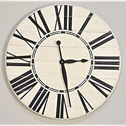 BrandtWorks Riley Oversized Farmhouse 36 Wall Clock, 36 x 36, White/Black