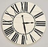 "BrandtWorks Riley Oversized Farmhouse 36"" Wall Clock, 36 x 36, White/Black"