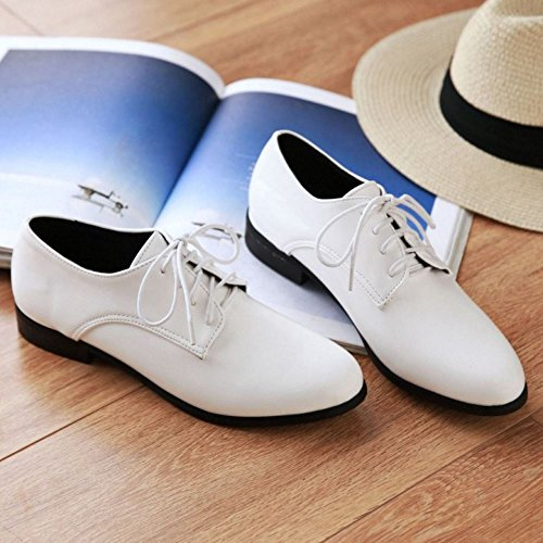 Zanpa Mujer Casual Cordones Bombas Oxford Zapatos Plano Extra Sizes 0-13 Blanco