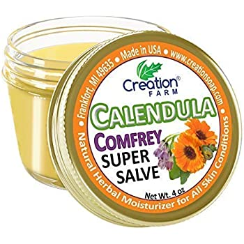 Calendula Comfrey Super Salve, Large 4 oz jar Enriched Herbal Balm by Creation Farm Moisturizer Ointment No Gluten, No Soy, No Parabens, No GMO Herbs Grown and Made in USA Comforts Eczema, Psoriasis