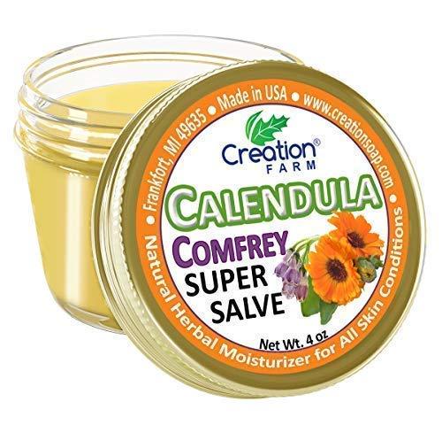 - Creation Farm Calendula Comfrey Super Salve, Herbal Balm Moisturizer Large 4 oz jar Ointment, No Gluten, No Soy, No Parabens, No GMO