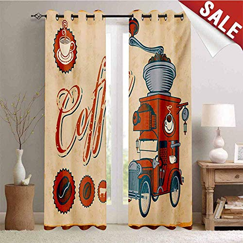 Hengshu Retro Waterproof Window Curtain Artsy Commercial Design of Vintage Truck with Coffee Grinder Old Fashioned Room Darkening Wide Curtains W84 x L96 Inch Cream Orange Grey
