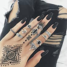 GreatFun 10pcs/Set Rings for Women Bohemian Vintage Silver Stack Rings Above Knuckle Rings Set (Silver)