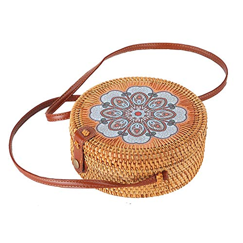 handwoven straw bag cute rattan handbag summer beach purse (printing-by random)