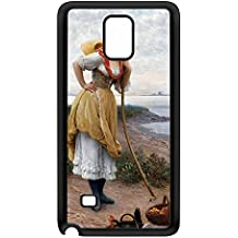 Daydreaming by Eugene de Blaas Black Silicon Rubber Case for Galaxy Note 4 by Painting Masterpieces + FREE Crystal Clear Screen Protector