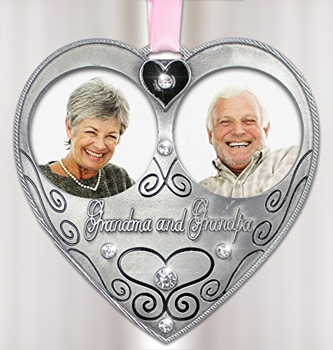- Grandma and Grandpa Photo Ornament - Pewter Ornament with 2 Picture Openings - In Loving Memory of Grandparents