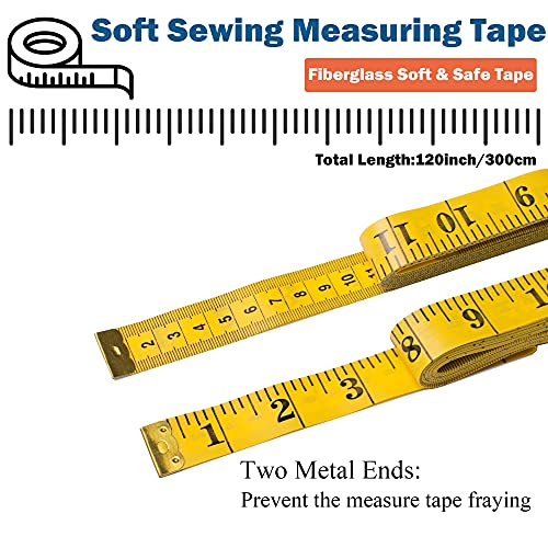 J.CARP 3 Pack Tape Measure, Measuring Tape for Body, Fabric Sewing Tailor Cloth Craft Measurements, 120 Inches Soft Measure Tape for Body Weight Loss