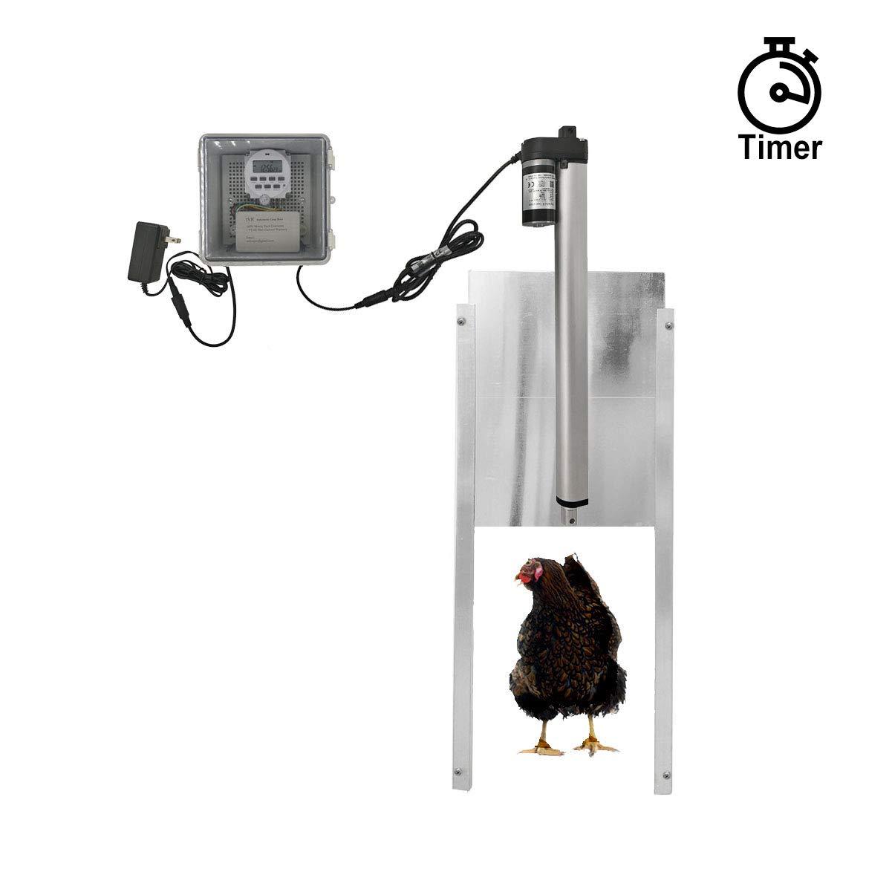 JVR Automatic Chicken Door Coop Opener Kit, Waterproof Outdoor Timer Controller Actuator Motor, 12V DC Power Supply Timing