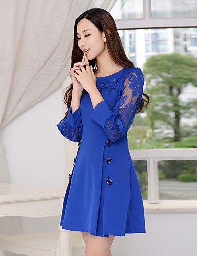PU&PU Robe Aux femmes Gaine Simple,Couleur Pleine Col Arrondi Au dessus du genou Polyester , blue-xl , blue-xl