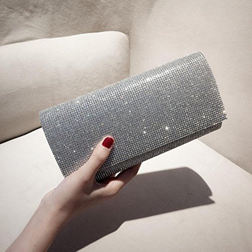 Frosted Shiny Silver Tote Clutches Envelope Party Rhinestone Bags Wedding Evening Women's Handbag Sequin Clutch pwIyFK0Oq