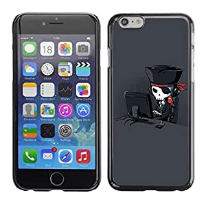 Be Good Phone Accessory // Dura Cáscara cubierta Protectora Caso Carcasa Funda de Protección para Apple Iphone 6 // Pirate Art Skull Hacker Parrot Black
