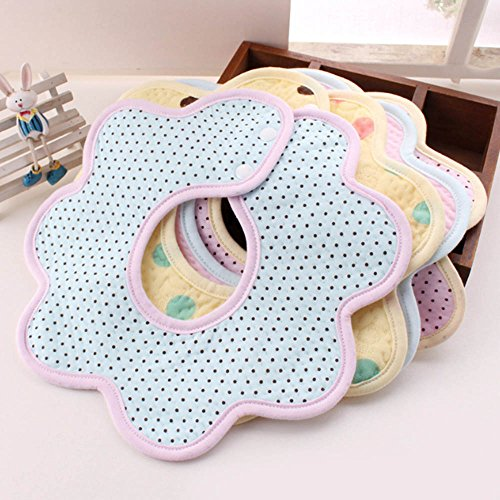 360 Degree Rotating Waterproof Baby Bibs, Cotton Front, Plastic Liner,Toddler Flower Octagonal Round Feeding Nursery Towel