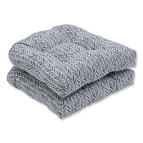 Pillow Perfect Outdoor | Indoor Herringbone Slate Wicker Seat Cushion (Set of 2), 2 -