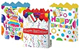 Gift Bags Happy Birthday Large 3 Styles Matte With Glitter Finish 12 Count, Fat Toad