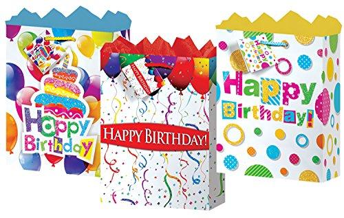 GiftBags Happy Birthday Medium 3StylesMatte With Glitter Finish 12 Count, Fat - Finish Matte Gift Bag Medium