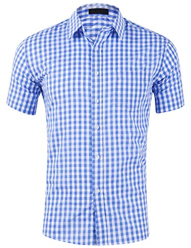 (DOKKIA Men's Cotton Sleeved Buffalo Plaid Checked Business Dress Shirt (Short Sleeve Light Blue White, X-Large))
