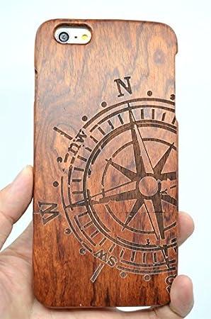 RoseFlower® iPhone 6S Plus 5.5 Funda de Madera - Brújula de Palo de Rosa - Natural Hecha a Mano de Bambú/Madera Carcasa Case Cover con Gratis ...