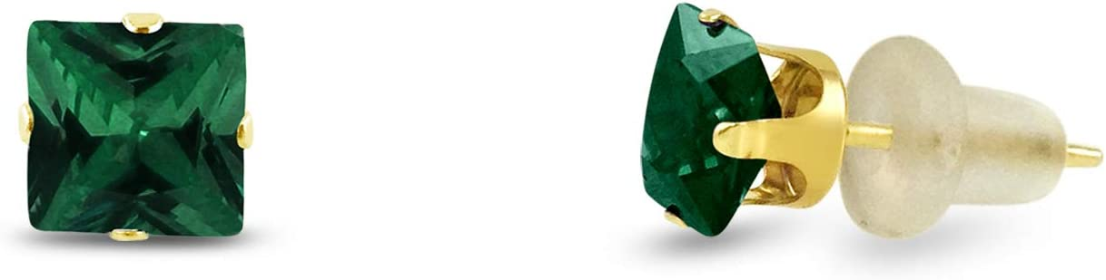 Square 3x3mm Simulated Emerald Green Gold Plated Sterling Silver Stud Earrings