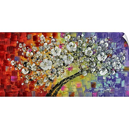 CANVAS ON DEMAND Multi White Cherry Blossom Wall Peel Art Print, 24
