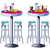 Beistle 52111 2-Pack Soda Shop Tables and Stools Props, 5-Feet 3-Inch