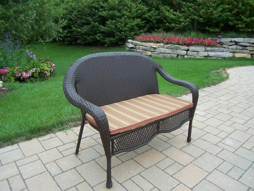 Oakland Living Elite Resin Wicker Loveseat with Cushion