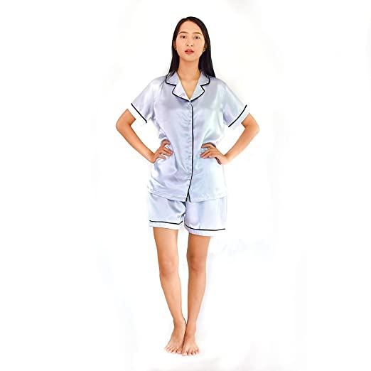 Womens Satin Short Sleeve Pajama Shorts Set (X-Large Pajamas, Blue Gray)