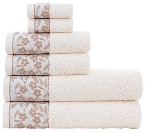 (HYGGE Premium 100% Turkish Cotton Towel Set with Floral Jacquard; 2 Bath Towels (27