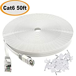 Cat 6 Ethernet Cable 50 ft White - Flat ...