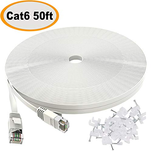 Plus Category 6 Patch Cord - Cat 6 Ethernet Cable 50 ft White - Flat Internet Network Lan patch cords - Solid Cat6 High Speed Computer wire With clips& Snagless Rj45 Connectors for Router, modem - faster than Cat5e/Cat5 - 50 feet