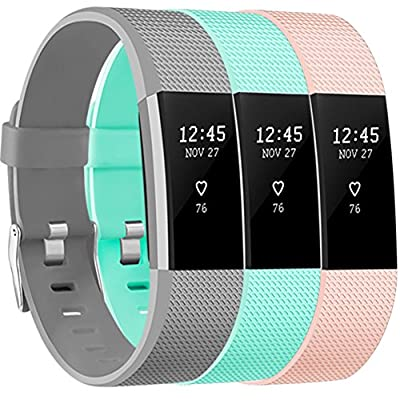 Vancle Bands for Fitbit Charge 2, Soft Comfortable Charge 2 Replacement Band for Fitbit Charge 2 Sport Accessory Fitness Wristband Small Large (Blush Pink & Gray & Teal, Large)