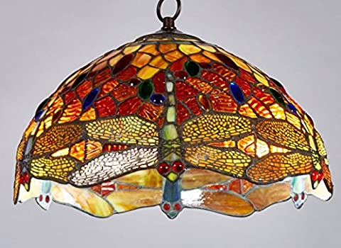 Diamond Life Tiffany Style Stained Glass Dragonfly Hanging Lamp Ceiling Fixture TL16003, 14-inch - Diamond Style Light
