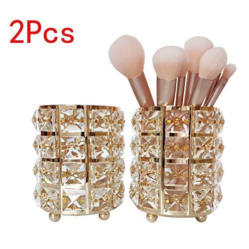 Gold Cosmetic Brush - JIARI 2Pcs Set Crystal Makeup Brush Holder Organzier Display Case (Gold)