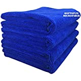 SOFTSPUN Microfiber Cloth (4pcs - 40x60cms -340GSM) Blue, Super Soft Absorbent Cleaning Towels Cleans & Polishes everything in your home