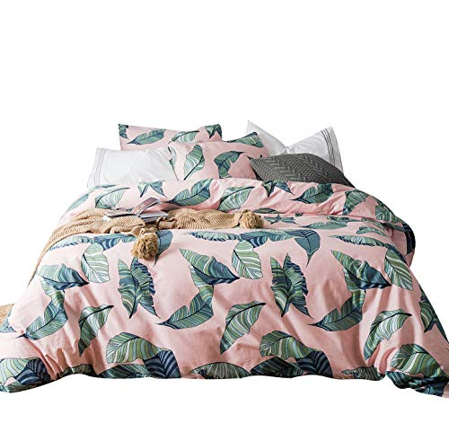 (SUSYBAO 3 Pieces Duvet Cover Set 100% Natural Cotton King Size Pink Green Banana Leaves Tropical Botanical Bedding with Zipper Ties 1 Duvet Cover 2 Pillowcases Luxury Quality Soft Durable Lightweight)