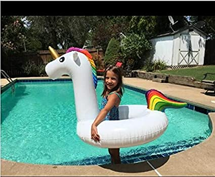 Pool Floats Inflatable Unicorn Float Rainbow Water Ring Raft Tube with Rapid Valves Beach Swimming Lounge Decorations Toys feichan