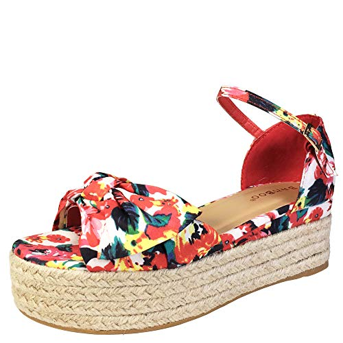 Knotted Platform - BAMBOO Women's Knotted Bow Band Espadrilles Platform Sandal with Ankle Strap, White Printed Fabric, 8.0 B (M) US