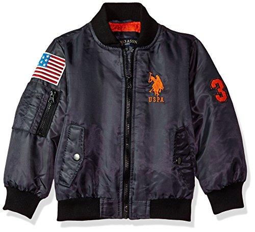 US Polo Association Toddler Boys' Fashion Outerwear Jacket, UB57-Flight-Charcoal, 2T (Toddler Flight Jacket)