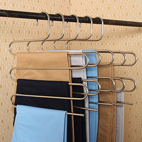 Kictero 2 Pack Pants Hangers S-type Stainless Steel Trousers Rack 5 layers Multi-Purpose Closet Hangers Magic Space Saver Storage Rack for Clothes/ Towel/ Scarf / Trousers/ Tie