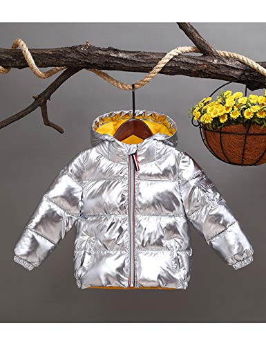 Silver Cute Cotton Boys Ultralight Winter Waterproof Snowproof Shining BESBOMIG Outwear Kids Hooded Jacket Girls Quilted Fashion Warm Padded for WUzOdnAq