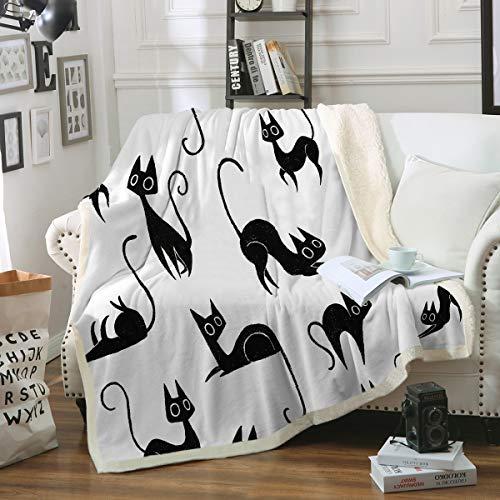 (Sleepwish Black Cat Fleece Throw Blanket Modern Cats Silhouettes Plush Sherpa Fleece Blanket for Kids Girls Boys (50