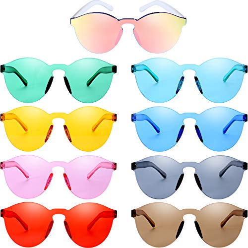 Blulu Round Rimless Sunglasses Tinted Eyewear Transparent Candy Color Sunglasses (Color Set 1, 9 -