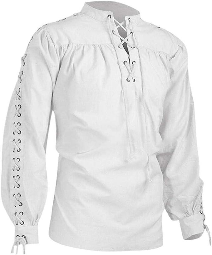 Luckycat Camisa Escocesa de Hombre Medieval Manga Larga Disfraz Clasico de Edad Media de Escocia Ropa Vintage Hombre Otoño Invierno Retro Vendaje Camiseta Medieval Hombre Gótico Blusa Tops Camisa: Amazon.es: Ropa y