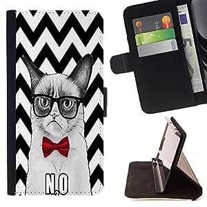Pattern Queen - Chevron Grumpy Cat - FOR Apple Iphone 4 / 4S - Funda de cuero ranuras para tarjetas de credito de la cubierta Flio tarjeta de la carpeta del tiron