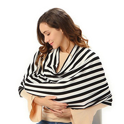 Nursing Scarf for Breastfeeding and Privacy. Baby car seat cover. High chair cover. Shopping cart cover. Barrier against germs. Versatile shawl. (black and white stripes) from Golden Merchant