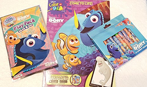 Finding Dory Color and Play Coloring Book, Play Pack, and Jumbo Crayons Bundle Set of 3 (Life Size Grinch)