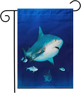 "Adowyee 28""x 40"" Garden Flag Carcharhinus Bull Shark in The Blue Ocean Mexico Leucas Outdoor Double Sided Decorative House Yard Flags"