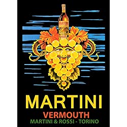 "CANVAS Vermouth Martini Best Drink Face Grapes Bottle Italy Italian Vintage Poster Repro 16"" X 22"" Image Size ON CANVAS. We Have Other Sizes Available !"
